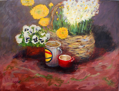 STL Basket Flowerws 12X16 Acrylic on can
