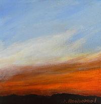 SKY Smokey Sunset 6X6 Acrylic on canvas.