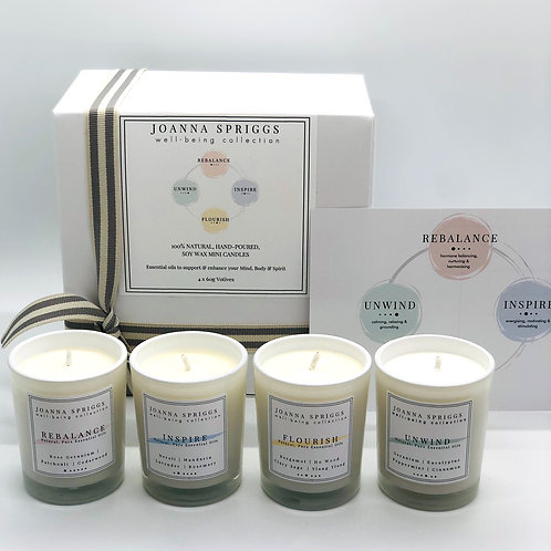 Gift set - 4 mini soy wax candles for well-being