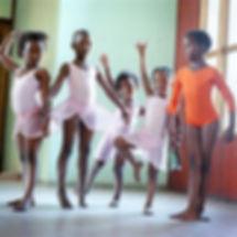 Black girls practicing ballet