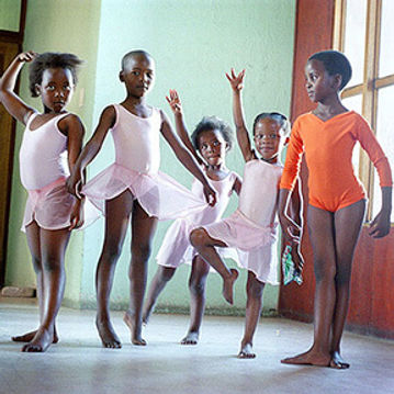 Black girls practicing ballet