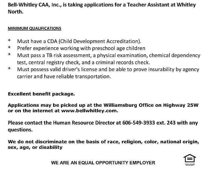 Head Start Teacher Assistant at Whitley