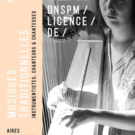 CANDIDATURES pour le DNSPM/DE MUSIQUES TRADITIONNELLES 2020