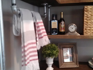 LOVE LOVE LOVE the rustic, industrial shelving I designed, easy DIY project.
