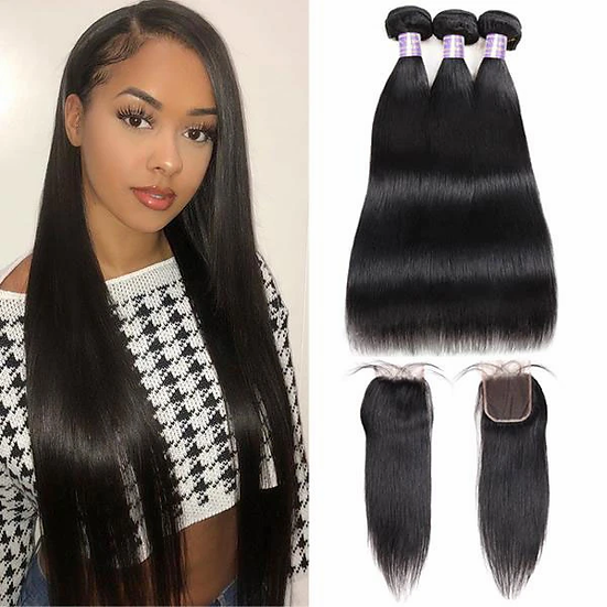Luxury Super Silky Straight 11A 3ps Bundles + (4X4) closure