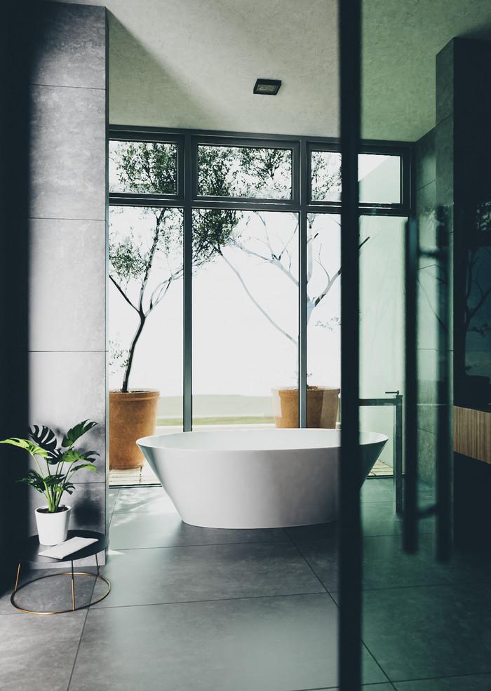 Bañera y patio.
