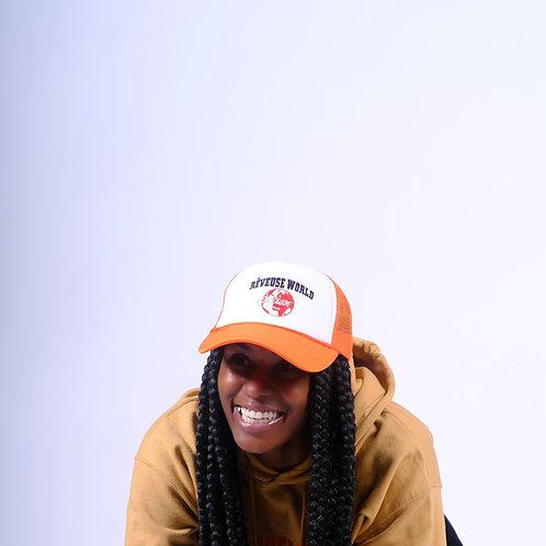 Orange Blanche Trucker Hat
