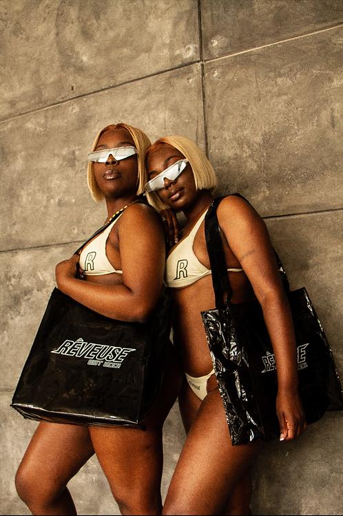 EST.2001 Black Transparent Tote bag
