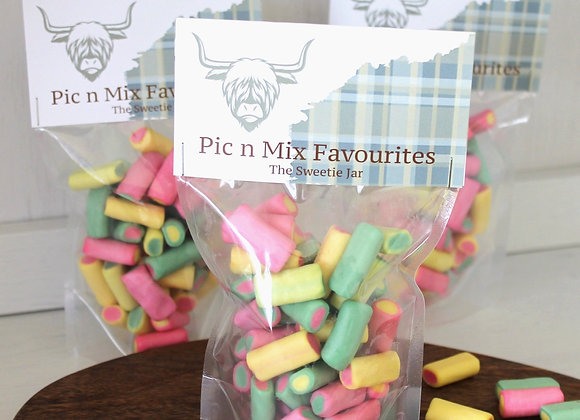 Rhubarb & Custards Retro sweets, sweet shop Scotland, Denise Brolly sweetie pouch