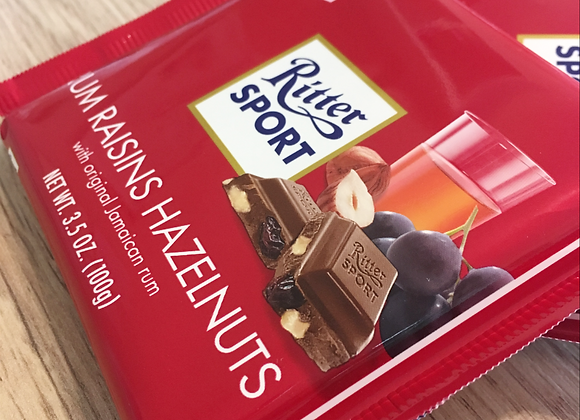 Ritter Sport - Rum, Raisin & Hazelnut - Chocolate Bar
