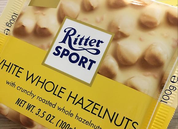Ritter Sport - White Whole Hazelnut - Chocolate Bar