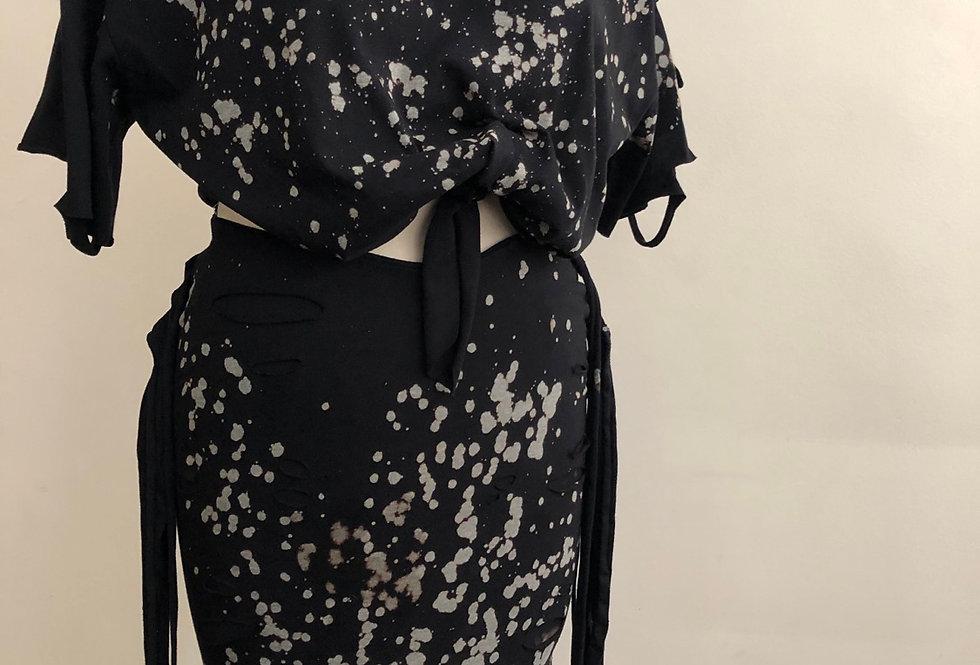 Black Distress Fringe Skirt set