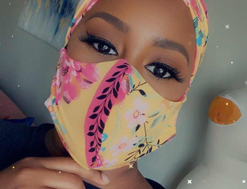 Floral Party headwrap and facemask set