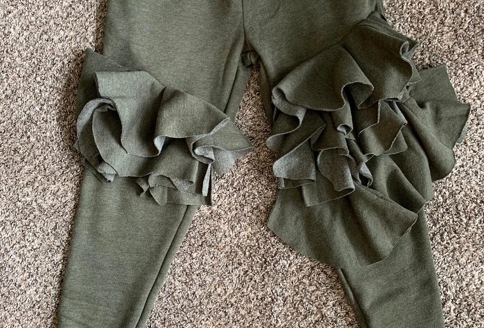 Army green Ruffle Joggers-Sm