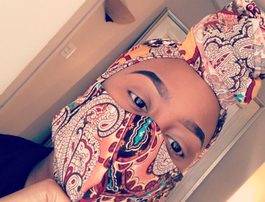 Paisley Print headwrap and facemask set