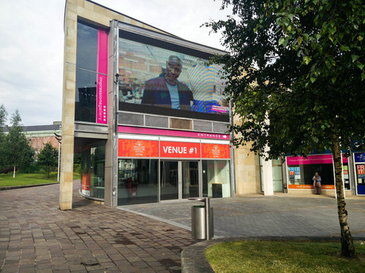 The Bradford College campaign on display in Bradford City Park