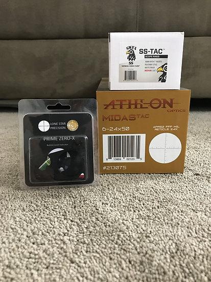 Athlon Midas TAC 6-24x50 MIL / SWFA SS Medium Rings & Lone Star Bubble