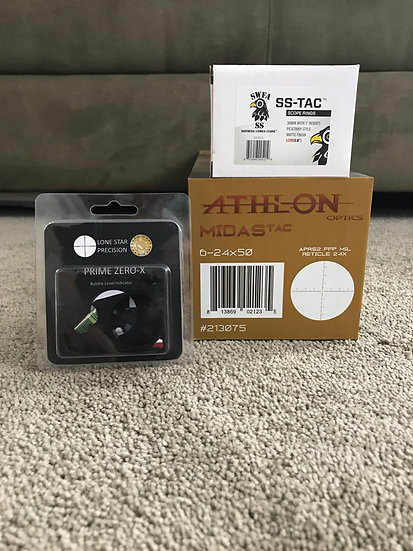 Athlon Midas TAC 6-24x50 MIL / SWFA SS Low Rings & Lone Star Bubble Level