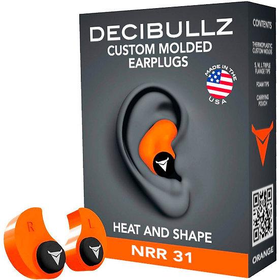 Decibullz Custom Molded Earplugs - Orange