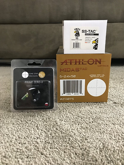 Athlon Midas TAC 6-24x50 MIL / SWFA SS High Rings & Lone Star Bubble Level