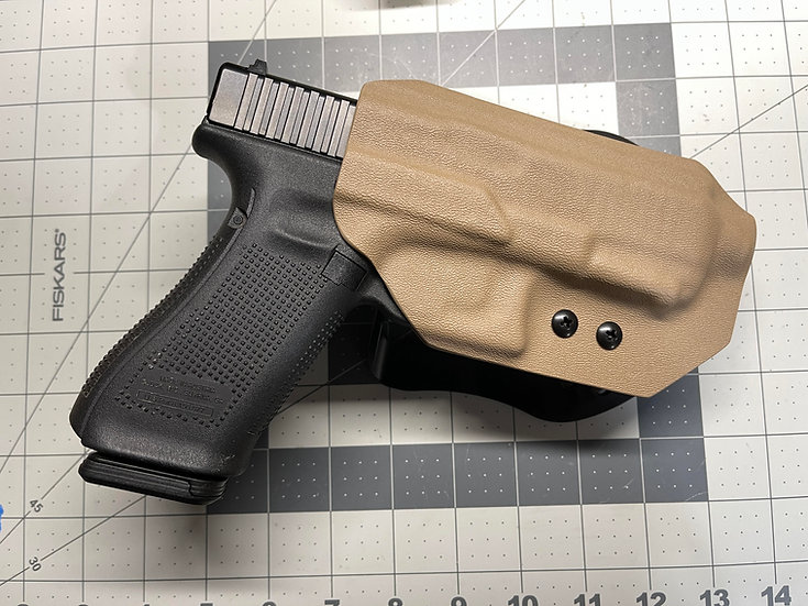 OWB Kydex Holster w/Bladetech Paddle-Glock 19X/45 w/Threaded Barrel-FDE