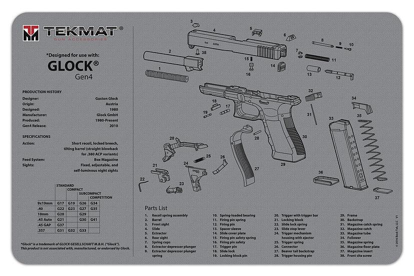 Glock® Gen4 Grey TekMat Benchmat