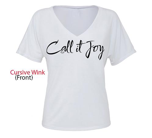 """Cursive Wink"" (Female) V-Neck T"