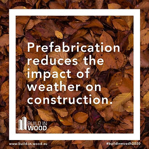 """Prefabrication recuces the impact of weather on construction"" with orange fallen autumn leaves."