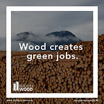 """Wood creates green jobs"" in front of huge log pile with mountain in the background"
