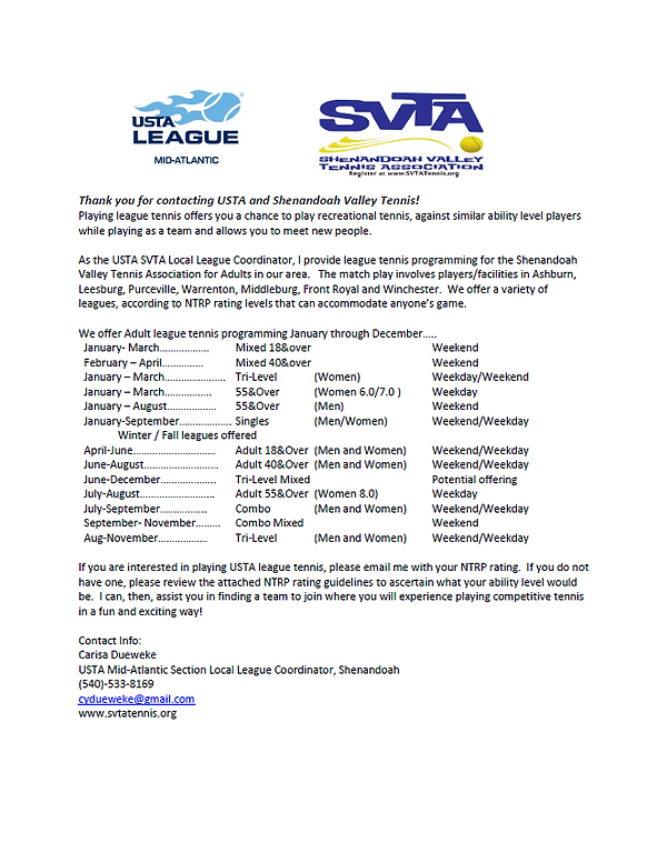 Welcome Letter 2020 Adult Tennis Leagues