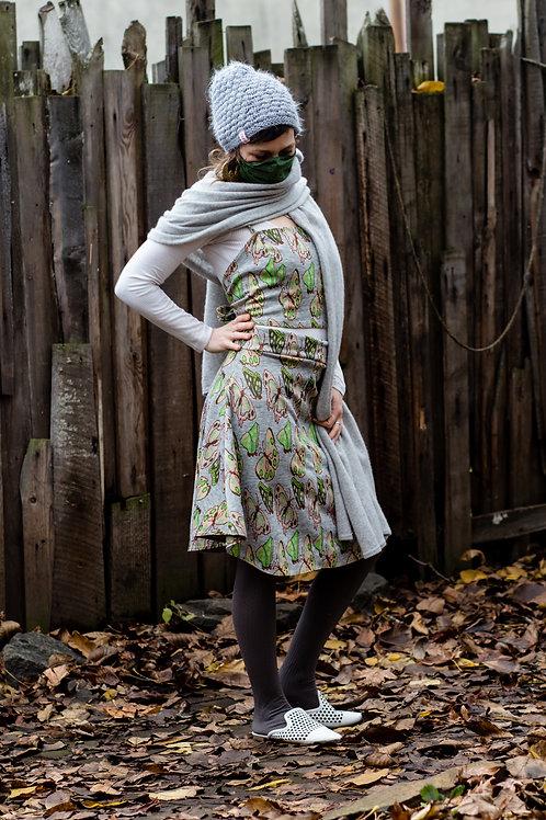 Gray Butterfly Summer Vintage Tie Top & Skirt Set