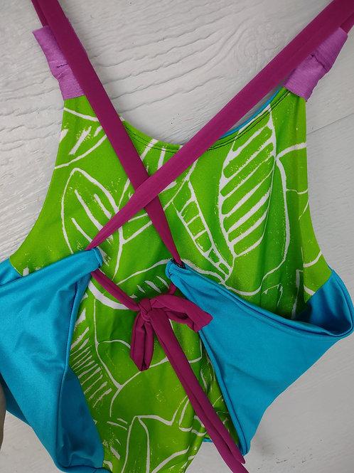 M/L Blue/Lime Leaf Halter REVERSIBLE