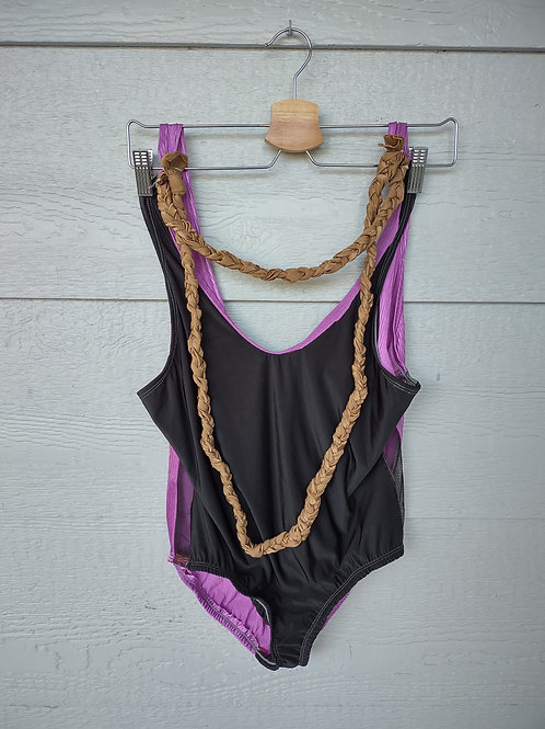 Large Purple Black Onesie w/necklace