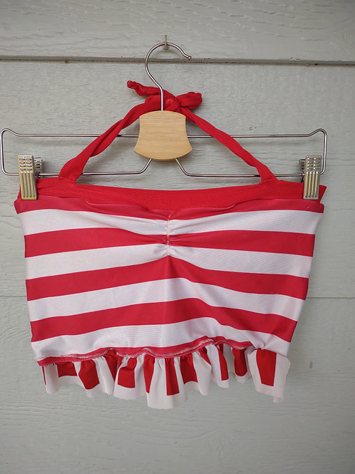 M/L Red White Striped Ruffle Top