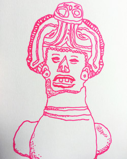 lefthanded drawing, pre-hispanic figure