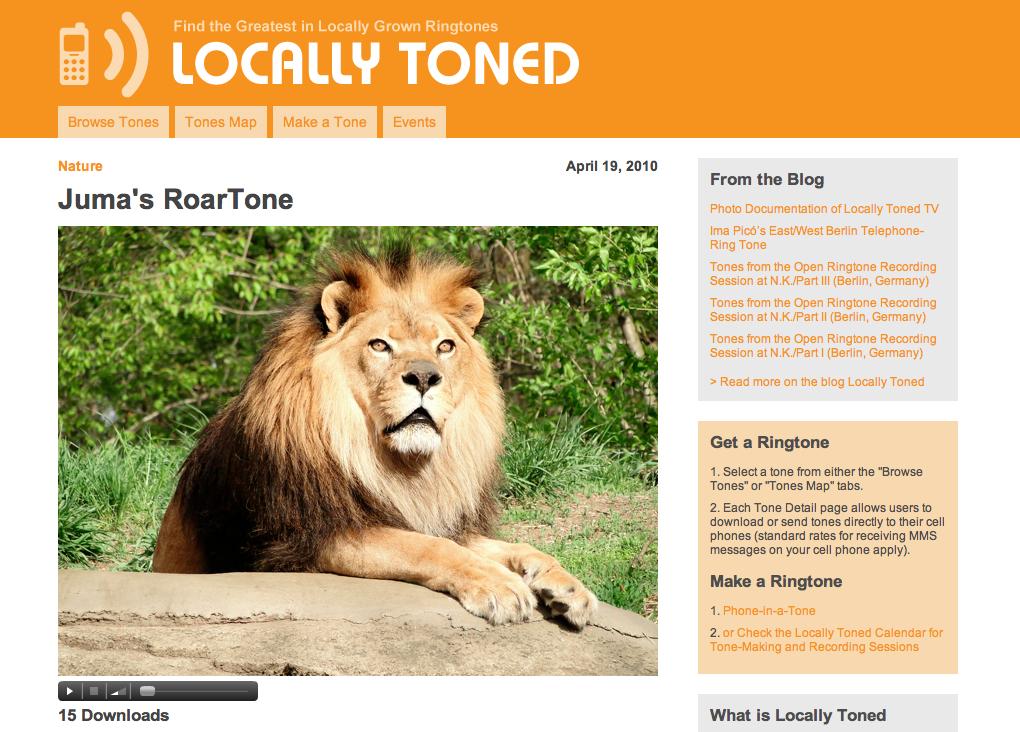 ringtone detail page