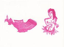 pink mermaid; parts separated