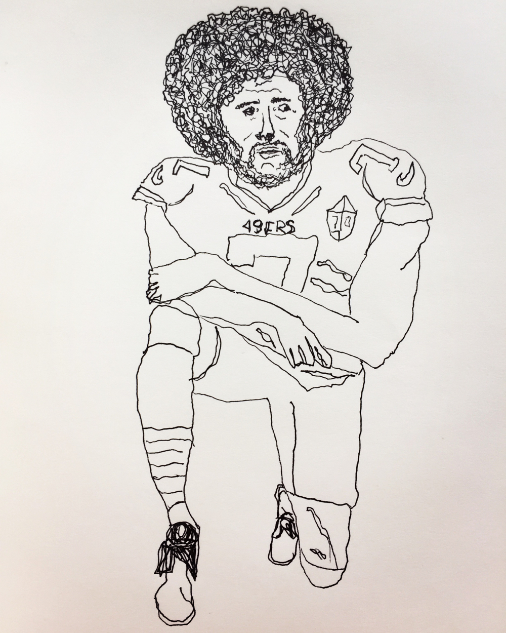 lefthanded drawing, Kaepernick