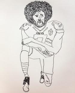 lefthanded drawing, Kaepernick