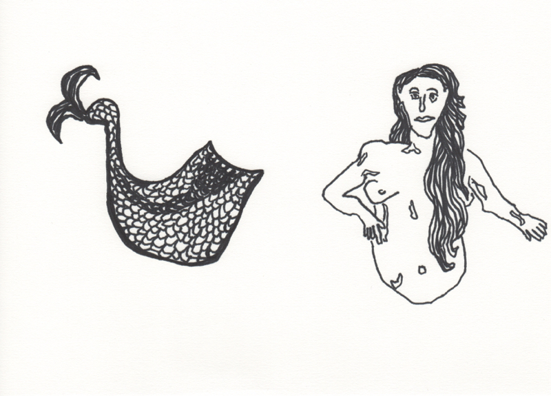 black mermaid; parts separated