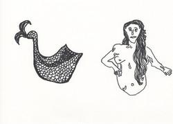 black mermaid; parts separated
