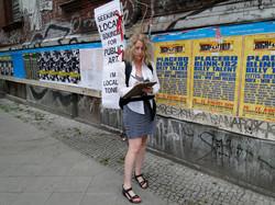 human billboard intervention, berlin
