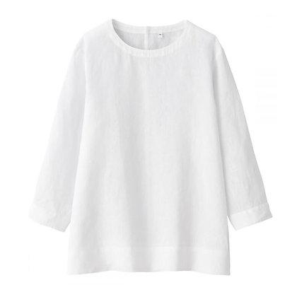 Plain White Elegant Linen Top