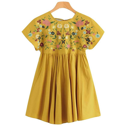 Short sleeve Summer Dress with Embroidered Yoke for Girls
