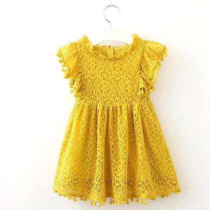 Lace Yellow Dres with small pom poms on sleeves