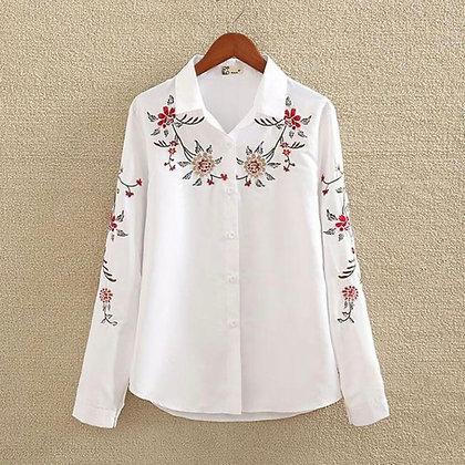 100% Organic Long Sleeve Embroidered Shirt