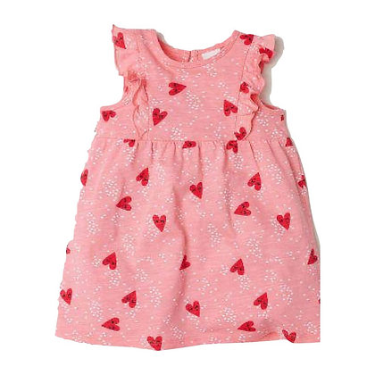 Summer Dress with Heart Print for Girls with ruffle cap sleeves