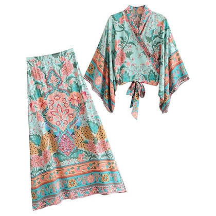 Printed Japanese Style Top & Long Skirt