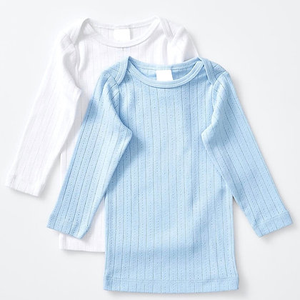 Long Sleeve Knitted Cotton T-Shirts (Set of 2)