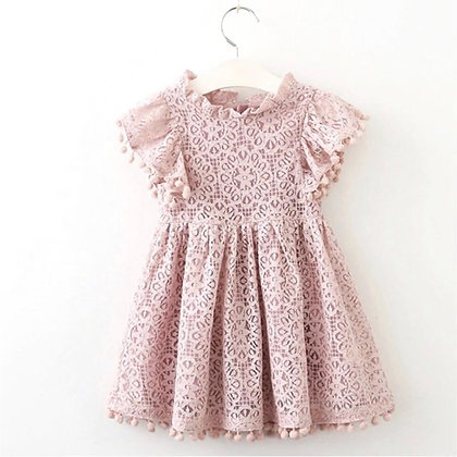 Lace Pink Dres with small pom poms on sleeves